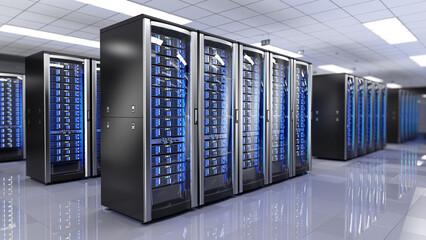 Server racks in server room data center - 3d rendering
