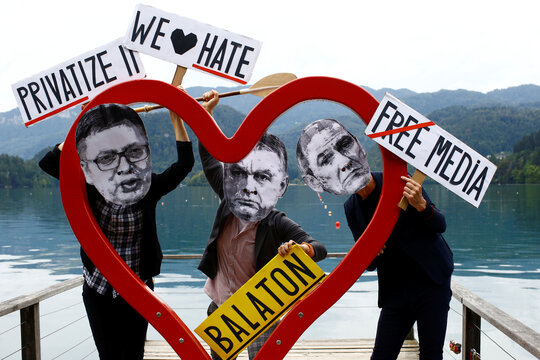 Protest during the Bled Strategic Forum, in Bled