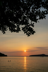 view from Koh Ta Kiev island in cambodia at sunset