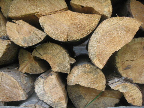 Woodworking industry, Wood for the fireplace is stacked on top of each other