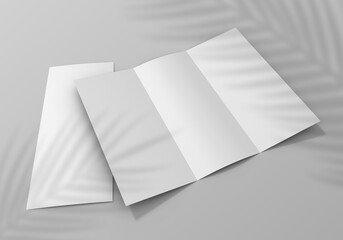 Realistic Two Tri-Fold Booklet, Postcard, Flyer or Brochure Mockup Template
