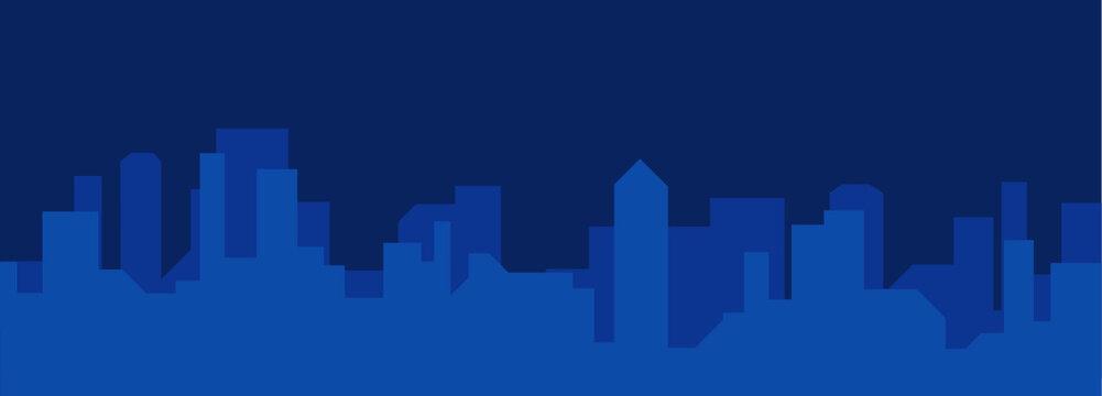 2000 x 720 Blue City Silhouette