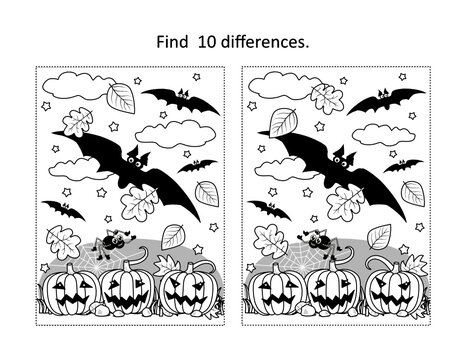 Find 10 differences visual puzzle and coloring page with Halloween bats fly above the pumpkin field