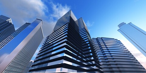 Wall Mural - Skyscrapers against the sky with clouds, modern high-rise buildings, 3D rendering