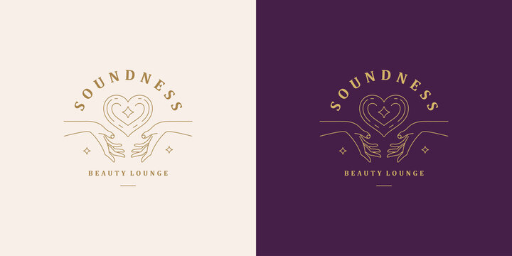 Elegant vector illustration of simple logo template with linear human hands holding and giving heart