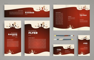 Сoffee Set flyer cover, tri-fold, banner, roll up banner, business card