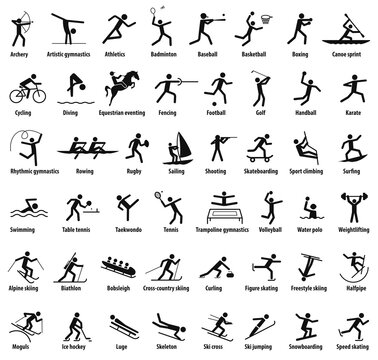 Sports icons. Vector isolated black pictograms with the names of sports disciplines