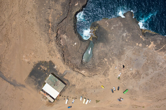 Aerial View Of Landscape By Sea