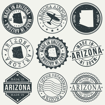 Arizona Set of Stamps. Travel Stamp. Made In Product. Design Seals Old Style Insignia.
