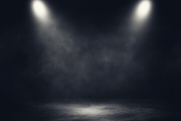 Empty space of Studio dark room concrete floor grunge texture background with spotlight and white smoke.
