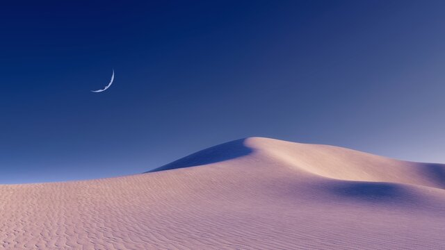 Fantastic unreal sandy desert landscape with massive sand dunes and half moon in clear night sky. With no people minimalist concept 3D illustration from my 3D rendering file.