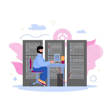 Technology of data storage concept with male character of data center worker in server room, cartoon vector illustration isolated on white background.