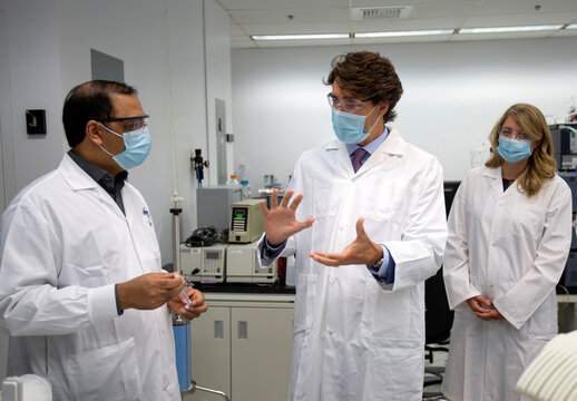 Canada's Prime Minister Trudeau visits the National Research Council of Canada in Montreal