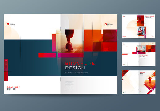 Business Report Cover Layout Set with Red Dynamic Elements