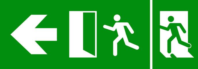 Emergency fire exit sign. Evacuation fire escape door vector sign pictogram arrow exit route Wall mural