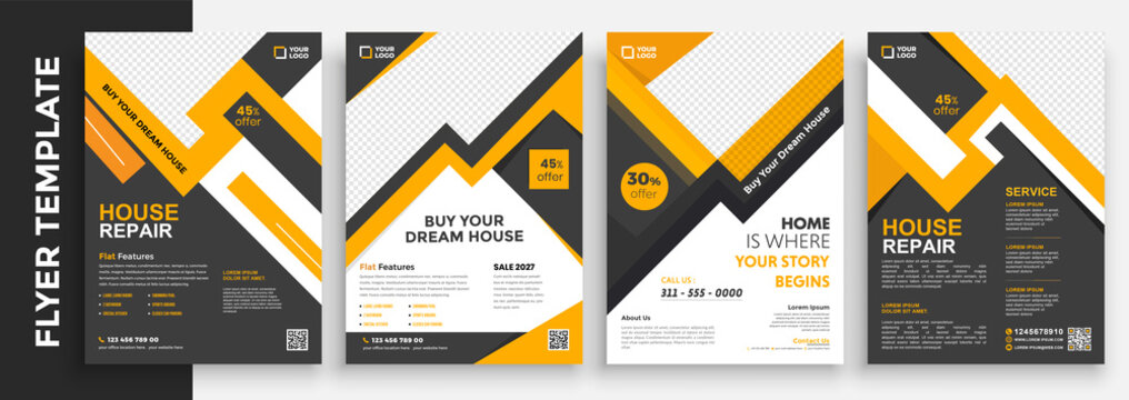 Real Estate and Home for sale flyer template design, Leaflets, Flyer Design, Cover Book Design, and A4 Magazine