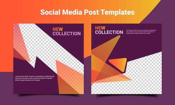 Social media feed template. Creative post template with dark purple and orange color. Digital post template background. Promotion background template vector design