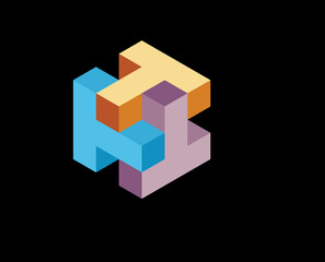 isometric logo design concept Rotated Letter T