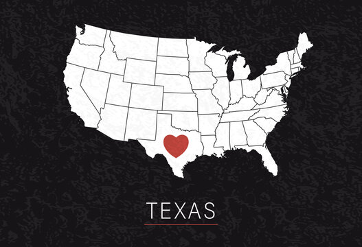Love Texas Picture. Map of United States with Heart as City Point. Vector Stock Illustration