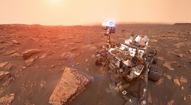 Rover on Mars surface. Exploration of red planet. Space station expedition. Perseverance 2020. Elements of this image furnished by NASA