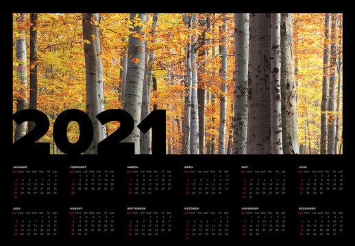 Dark Calendar Layout for the Year 2021