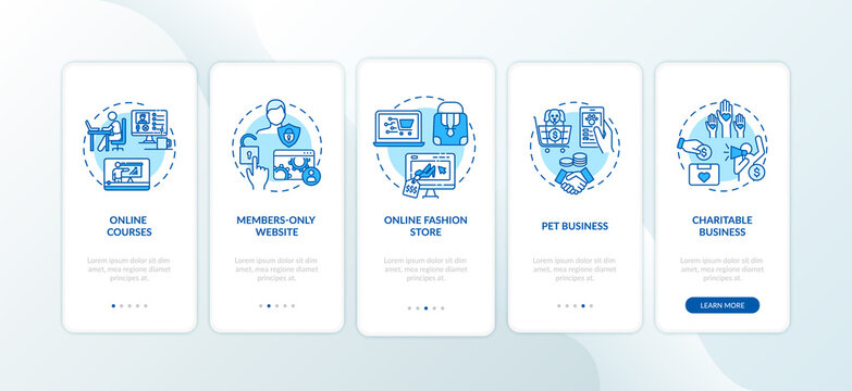Low investment ideas onboarding mobile app page screen with concepts. Small business sponsorship walkthrough five steps graphic instructions. UI vector template with RGB color illustrations