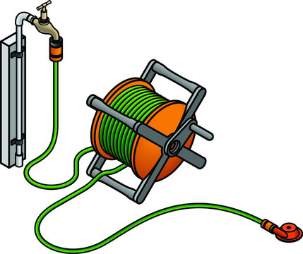 A simple lawn sprinkler attached to garden hose reel and a brass tap.