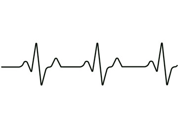 Heart rate graph. Heart beat. Ekg icon wave. Black and white color. Stock vector illustration.