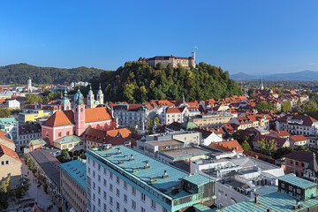 Ljubljana, Slovenia. High angle view on the historical part of the city in sunny autumn day. View from observation desk at the top floor of the Neboticnik building (The Skyscraper).