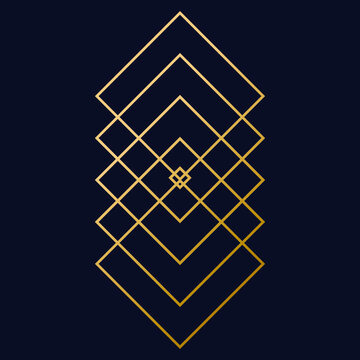 Art deco gold graphic element. Creative template in style of the 1920s for your design
