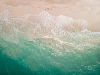 Aerial view of a beach in Bimini, this chain of islands is located only 80km east of Miami, The Bahamas