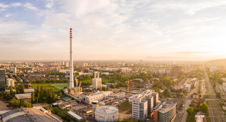 Panoramic aerial view of Zagreb power plant complex during sunset, Croatia.