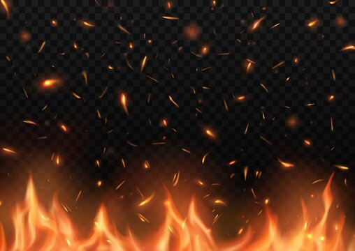 Realistic fire with sparks, vector burning campfire flame with particles flying up, embers and cinder. Burning 3d bonfire, blaze effect, glow shining flare. Heat tongues from blacksmith works or hell