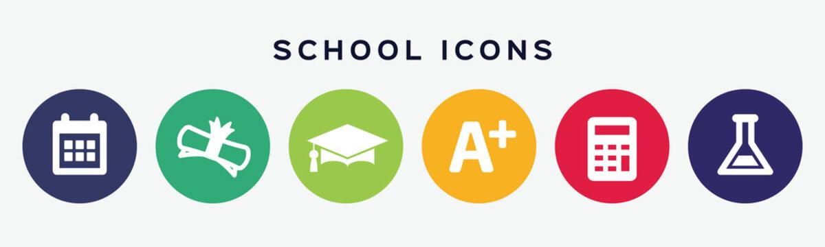 School flat design icon set.