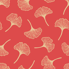Vector seamless pattern with hand drawn ginkgo biloba leaves. Beautiful design for textile, wallpaper, wrapping