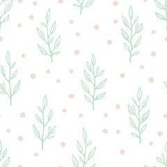 Vector seamless pattern with hand drawn small branches and dots. Cute simple design for wallpaper, fabric, textile, wrapping paper