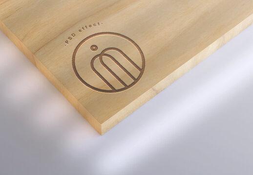 Engraved Wood Branding Effect Mockup