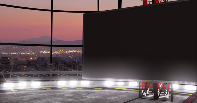 TV show VR backdrop with screen. Ideal for virtual tracking system sets, with green screen. (3D rendering)