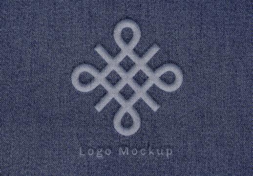 Logo Effect Mockup on Denim Fabric
