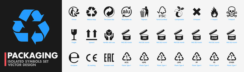 Packaging symbols set. Recycling icons, standard signs, certification mark - Private label product box elements- Isolated black vector design on white background. PARIS, FRANCE – AUGUST 31, 2020.