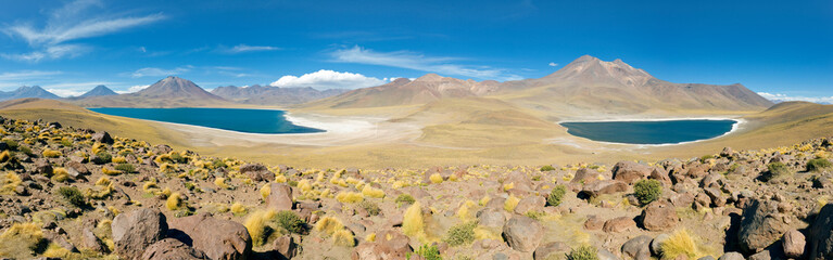 South America, Chile, Norte Grande, Antofagasta Region, Atacama desert, Los Flamencos National Reserve, Panoramic view of Laguna Miscanti and Laguna Miniques at an altitude of 4300m and the peaks of Cerro Miscanti and Cerro Miniques reaching altitudes of