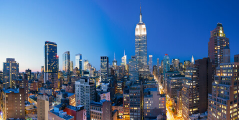 Midtown Manhattan, elevated dusk view towards the Empire State Building, Manhattan, New York City, New York, United States of America
