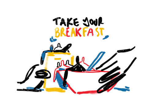 Take Your Breakfast. Ad Parody. Modern Abstract Graffiti illustration. Paint with Primary Color. Contemporary art for Print and Poster