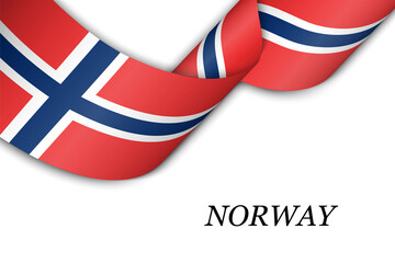Waving ribbon or banner with flag of Norway
