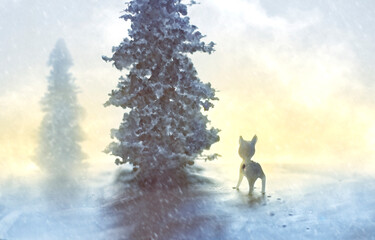 Small glass deer in snowy landscape with giant pine tree