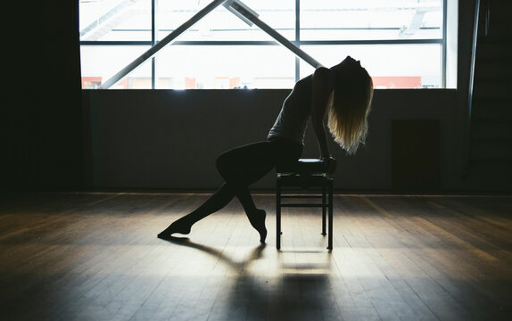 Ballerina silhouette on a seat