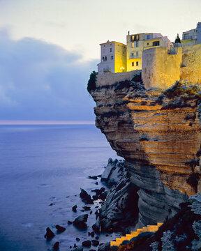 Haute Ville on cliff edge at dawn, Bonifacio, South Corsica, Corsica, France