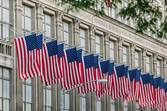 US Flags in a Manhattan Building