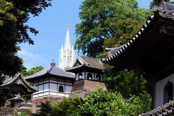 平戸 寺院と教会の見える風景