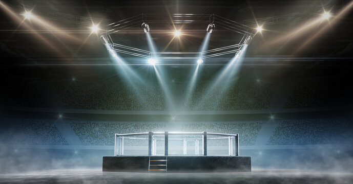 MMA cage night. Fighting Championship. Fight night. 3D render MMA arena. View of the arena by spotlights. Full tribune